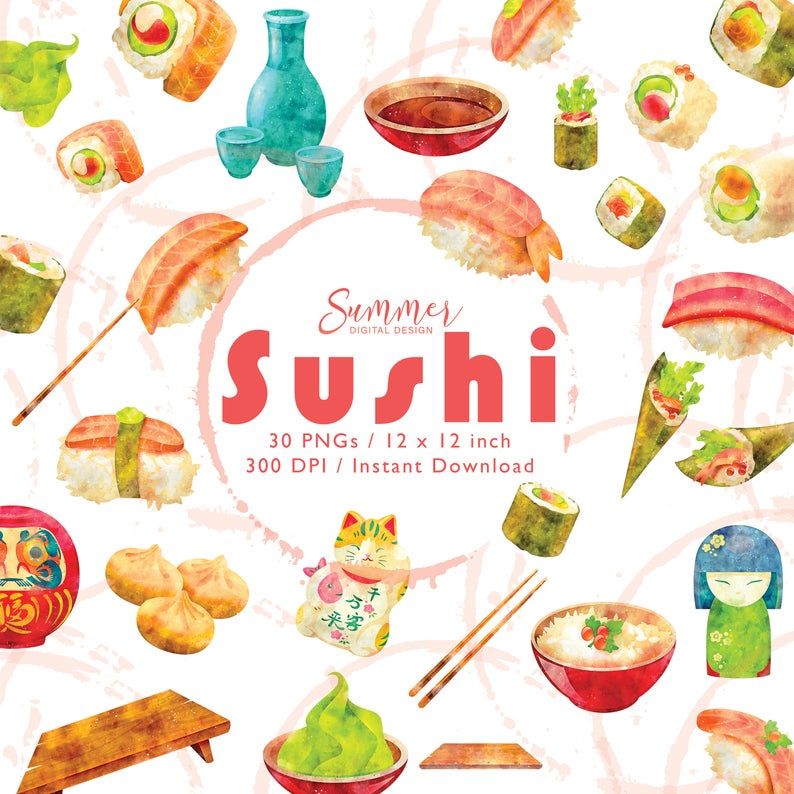 SummerDigitalDesign-Sushi Watercolor Clip Art, Japan Cute Healthy Food Digital Elements, Clipart Bundle, Watercolor Food Clipart, Sushi Clipart Japanese Clipart